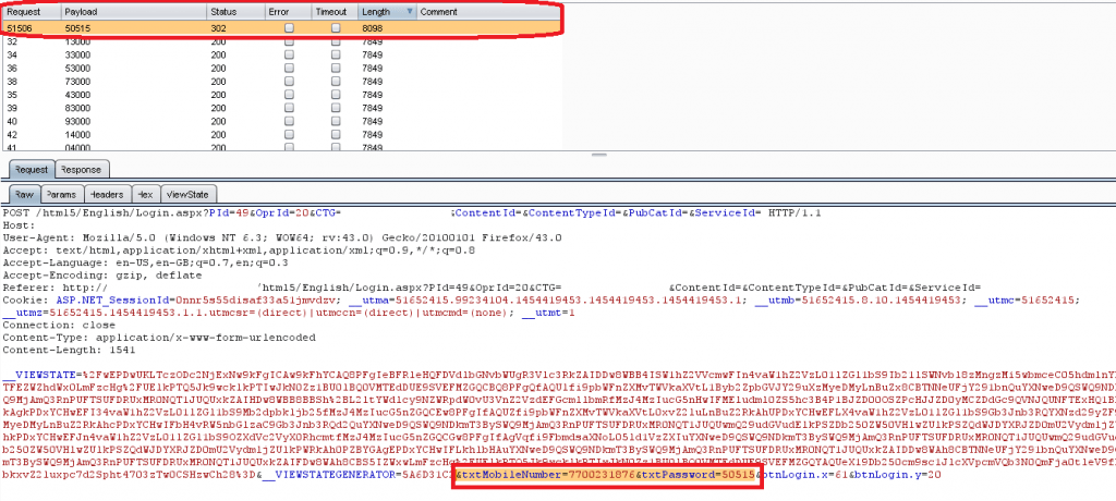 Case Study Penetration test screenshot burp intruder