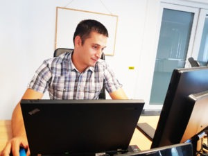 Cyber Security Engineer at office work penetration tests