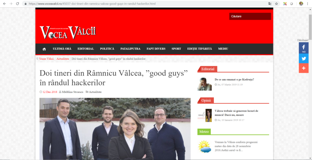 Cyber Threat Defense at Vocea Valcii newspaper